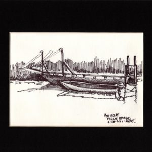 Red Boat, Blue Barge_5x9-pen